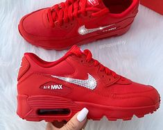 Swarovski Nike Air Max Dia Premium Shoes Blinged Out With Swarovski Crystals Bling Nike Shoes White Red Nike Shoes, Bling Nike Shoes, Nike Shoes Outfits, Pink Shoes, Air Max Sneakers, Sneakers Mode, Sneakers Fashion, Red Sneakers, Fashion Outfits