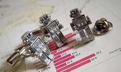 Robot Cufflinks & Tie Tack Set of 3 Original by CosmicFirefly, $35.00