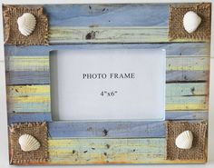Colorful 4x6 Picture Frame with Seashells - Beach Cottage & Nautical Home Decor