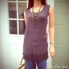 Dylan Boho Knit Fringe Tank Boho chic! Deep gray color with intricate Aztec print stitching. Playful knotted fringe at bottom. Gorgeous piece! NWT The Chic Shed; A Current and Classic Fashion Curation.  10% OFF BUNDLES I ❤️ THE OFFER BUTTON ❌NO PP, TRADES, HOLDS❌  15% OFF RETURNING BUYER BUNDLES dylan. Tops