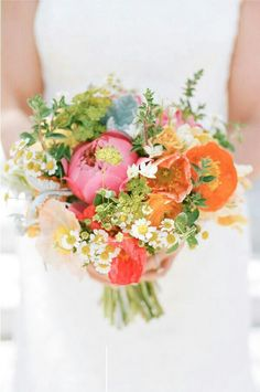 Very Pretty Bridal Bouquet Arranged With: Pink Peonies, Sherbet Roses, Peach, Coral, Orange Poppies, White/Yellow Chamomile Daisies, Dusty Miller, Green Bupleurum ••••