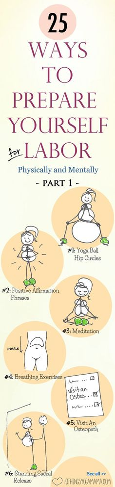 """A great list for pregnant mamas! Breathing exercises, pain management, prenatal yoga, perineal """"massage"""", I've rounded up what ended up being the 25 most useful resources in both of my birthing experiences to help me prepare for labor in view of natural childbirth. 25 Ways To Prepare For Labor (Physically and Mentally) - Part 1"""