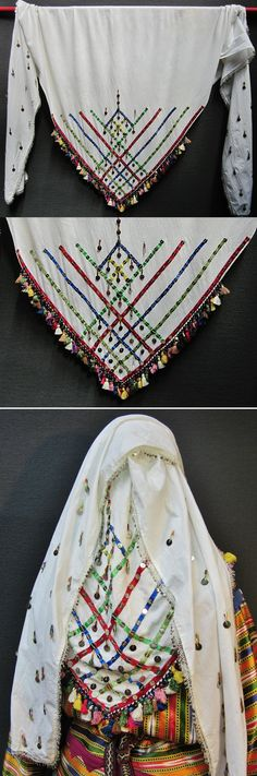 Large traditional headscarf (called 'çekili yazma') from the Bergama region.  Part of the festive female costume of the Üsküdarlı Tahtacı.  Made of white cotton.  Square; one corner is adorned with ribbons of different colours, metal sequins, glass beads and multicoloured tassels in silky cotton; two long and similarly decorated extensions ('çeki') start from the adjacent corners and will fall down on the woman's back. (Inv.n° yaz118 - Kavak Costume Collection - Antwerpen/Belgium).