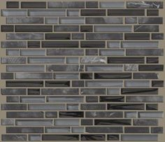 """Ceramic Tile in style """"Mixed Up"""" 5/8 Linear Random Mosaic Stone - color Black Hills - several shades of grey - Flooring by Shaw"""