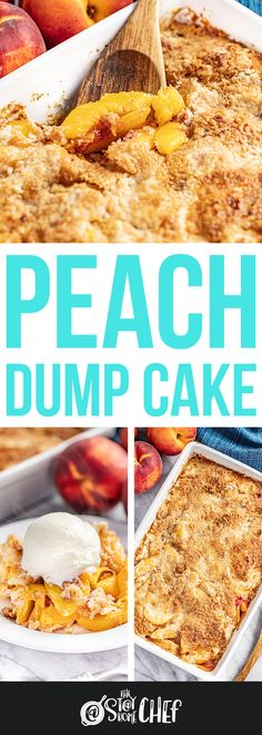 Peach Dump Cake is a family favorite summertime dessert made entirely from scratch with just a handful of simple ingredients. The recipe includes instructions for frozen, fresh, or canned peaches. No box cake mix needed! Dump Cake Recipes, Bakery Recipes, Chef Recipes, Sweet Recipes, Cooking Recipes, Dump Cakes, Fun Desserts, Dessert Recipes, Delicious Desserts