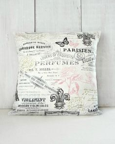 Shabby French Pillow Cover - Cottage Chic Pillow with Eiffel Tower, Fleur de Lis, Crown