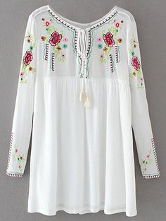 Drawstring Embroidered Floral Smock Dress - WHITE L