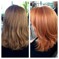Photo of Stevi Brooke - Mint Studio Salon - San Marcos, CA, United States. Before and after! We went from a cool light brown to a copper/strawberry blonde with blonde highlights.