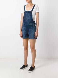 Diesel Jardineira jeans curta
