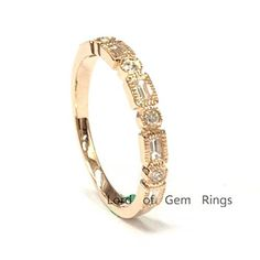 $398 Diamond Wedding Band Half Eternity Anniversary Ring 14K Rose Gold,Full Cut Round/Baguette Shape Diamond