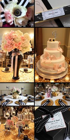 Adding a simple stripe pattern to any decor gives a gorgeous touch and elegant air to the feel of the whole wedding. Great favor and centerpiece ideas too! Check out the gold and soft pink with black and white stripes. #blushweddings #goldandpink #weddingfavorideas #weddingcenterpieces  #Vecoma at the Yellow River
