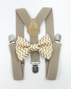 ca38884c2 Tan suspenders + Matching Gold Chevron Bow Tie kids family photos photo  prop holiday picture