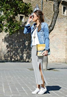 40 Unusual Jacket with Rock Outfits You should try this year - Frisuren Haar Long Skirt Outfits, Rock Outfits, Maxi Outfits, Spring Outfits, Cute Outfits, Fashion Outfits, Outfit Zusammenstellen, Skirt And Sneakers, Business Casual Outfits