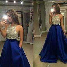 Prom Dress,Royal Blue Halter Prom Dress,Long Backless Prom Party Dress,Formal Evening Dress F101