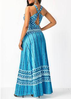 Printed Sleeveless Keyhole Back Maxi Dress - Trend Way Dress African Fashion Dresses, Fashion Outfits, Fashion Tips, Club Party Dresses, Gypsy Dresses, Maid Dress, Casual Dresses, Long Dresses, Dresses Online