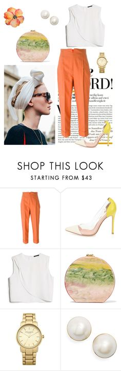 """Sans titre #893"" by alika14 ❤ liked on Polyvore featuring Romeo Gigli, Gianvito Rossi, MANGO, Edie Parker, Topshop and Kate Spade"