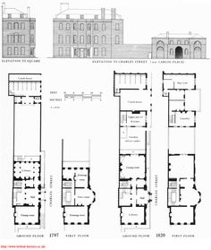 Facade and floor plan of house on Grosvenor Square (some are narrow and deep, others wider and shallower) britishmuseum.org