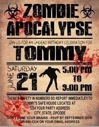 Birthday Invitation Zombie Apocalypse 1 Halloween party