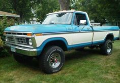 Ford truck 2 tone blue and white long bed with cab lights
