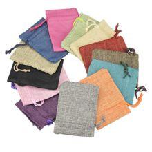 Retail 7 9cm Mini Pouch linen Hessian hemp Jute drawstring small gift packaging font b Bag