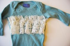 Baby Girl Outfit //Baby Girl Clothes // Hand Dyed Aqua with Ivory lace Ruffle Detailing // Lady Layla. $27.00, via Etsy.