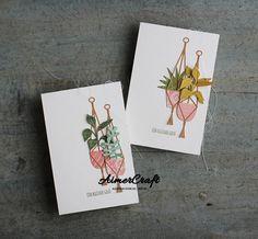 Hanging Flower Pots, Hanging Planters, Spellbinders Cards, Stampin Up Cards, Chlorophytum, Bloom Where Youre Planted, Macrame Plant Holder, Sweet Home, Marianne Design
