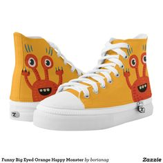 Funny Big Eyed Orange Happy Monster Printed High Top ZIPZ® Shoes.  Artwork designed by Cute And Strange Creatures