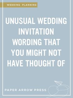 12 Non Traditional Wedding Invitation Wording Ideas | Traditional ...