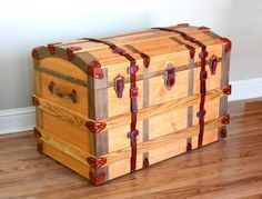 Easy Woodworking Projects European Trunk Woodworking Plan - This European all-wood trunk is patterned after Old World steamer trunks. Except for the lid hinges and brass pin accents, everything is wood including handles, brackets, latches and a lock.
