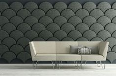 Cloud Inspired Wall Paneling Idea Come With Creative Half Circle Stacked Wall Decor And Flat Design Beige Sofa With Stainless Steel Legs Design. Interior Desing, Interior Architecture, Acoustic Wall Panels, Feature Wall Design, Beige Sofa, Sound Proofing, Diy Design, Design Ideas, Flat Design