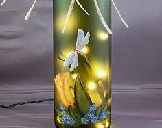 Lighted Wine Bottle, Hand Painted - Tulip and Dragonfly - Gifts for Women, Frosted Glass, Night Light, Accent Lamp