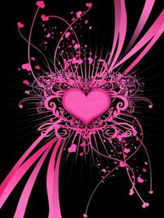 black background with hot pink heart design Heart Wallpaper, Love Wallpaper, Mobile Wallpaper, Wallpaper Backgrounds, Wallpapers, Wallpaper Desktop, Wallpaper Designs, Wallpaper Gallery, Glitter Wallpaper