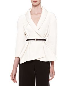 Belted+Silk+Wrap+Blouse,+Ivory+by+Carolina+Herrera+at+Neiman+Marcus.