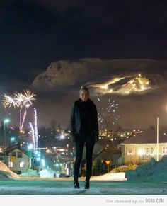 Just New Year's Eve In my Icelandic town (Not photoshopped!)