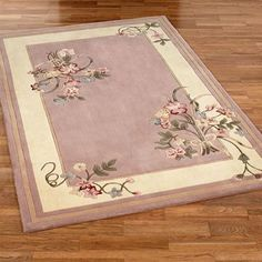 Floral Bouquet Dusty Mauve Area Rugs
