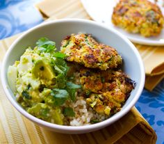 vegan spinach coconut chickpea fritters over brown rice with guacamole!