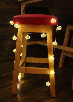 Luxury Gold Sphere metal jaali String lights & by StudioKaeth String Lights, Lamp Light, Lamps, Chair, Luxury, Metal, Creative, Gold, Handmade