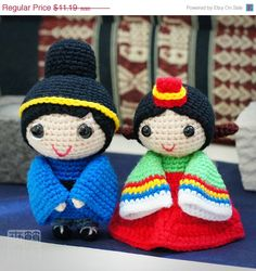 ON SALE korean wedding dolls pattern by saplanetamigurumi on Etsy