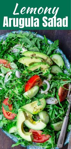 You'll love this bright and easy arugula salad with avocado, cucumbers, and tomatoes. Tossed in a simple lemony dressing. Arugula Salad Recipes, Greek Salad Recipes, Salad Recipes For Dinner, Avocado Recipes, Healthy Salad Recipes, Easy Recipes, Avocado Salat, Spring Salad, Mediterranean Dishes