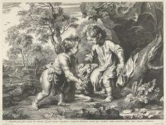 Johannes de Doper en Christus als kinderen, Peter Paul Rubens, Cornelis Galle (I), c. 1630 - 1650