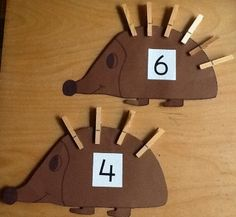 M.6.10 Put pairs together. The child will be able to use the different clothes pin to match the number on the animal.