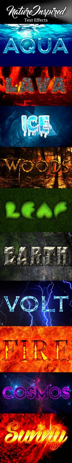 Nature Elements Text Effect Styles by Noctilucous 10 cool nature elements styles that can be used in logo, banners, flyers, websites, brochure or any kind of decoration purpose. Fe