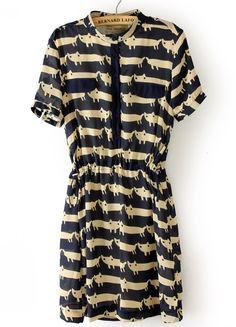 Cats Print Chiffon Dress - Sheinside.com