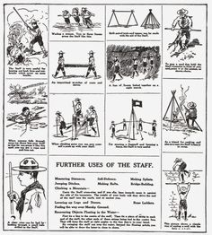 """#ThrowbackThursday from the 1911 Boy Scout Handbook Many boys, upon taking up the Scout Movement, are dubious about the value of the scout staff and many friends of the movement ask """"Why does a boy scout carry a staff?"""" Experience has proven it to be one of the most helpful articles of equipment. In order to show this we are reproducing, through the courtesy of Lieut-Gen. Sir Robert S. S. {366} Baden-Powell, illustrations from printed matter used by the English boy scouts. These illustr..."""