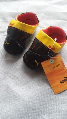 Infant shoe size 2 Black yellow and red Brand new without box Ready to ship today with tracking information provided for all orders Infant shoe size 2  Ready to ship today  PLEASE GO TO WWW.URMUSTHAVES.BIGCARTEL.COM TO PURCHASE . . . . . .  #puma #babyshoes #babyshower #babygifts #closet #babycloset #cribshoes #fastshipping #brandnew #readytoship #iso #babyfashion  #weekendbaby