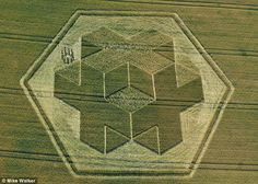 This sophisticated crop circle uses an optical illusion to give the impression of a three dimensional cube. The creators of the 200ft wide design in a field of wheat at Clay Hill near Warminster, Wiltshire remain a mystery. The area is known as the UFO capital of Britain after repeated sightings of unearthly objects and numerous crop circle appearances over the last few decades.