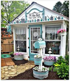 their space. But so too do women. But while some men prefer to dwell in their Man Caves, some woman prefer an alternative place to relax. Such as the She-Shed. Fall Around the Potting Shed and A Nod to Halloween Backyard Sheds, Backyard Retreat, Backyard Landscaping, Garden Sheds, Shed Conversion Ideas, Shed Makeover, Shed Decor, She Sheds, Potting Sheds