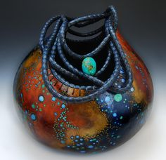 """Blue Pine Needle Coil  Hand Carved and Painted Gourd  Height 13"""""""