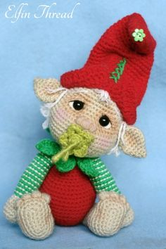 Gribin the Baby Elf amigurumi crochet pattern by Elfin Thread