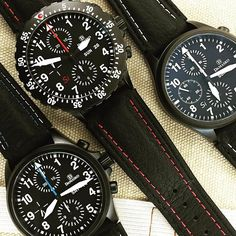 A trio of Damest Black ice hardened stainless steel Damasko Chronographs DC58 DC66Si and DC56S. #Damasko #Watches